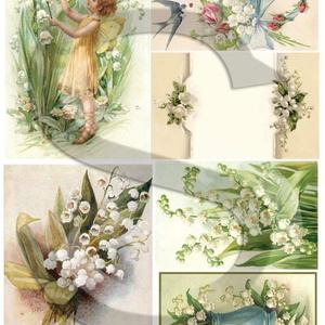Virág sorozat:Gyöngyvirág, Papír, Decoupage papír, A 4-s méretű rizsnyomat, vékony 20 gr-s rizspapíron, découpage technikához. Az eredeti nyomatot vízj..., Meska