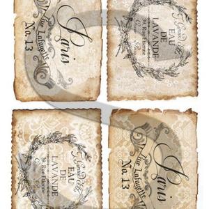 Vintage címkék 4., Papír, Decoupage papír, A 4-s méretű rizsnyomat, vékony 20 gr-s rizspapíron, découpage technikához. Az eredeti nyomatot vízj..., Meska