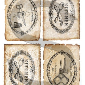 Vintage címkék 5., Papír, Decoupage papír, A 4-s méretű rizsnyomat, vékony 20 gr-s rizspapíron, découpage technikához. Az eredeti nyomatot vízj..., Meska