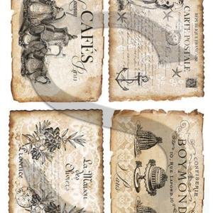 Vintage címkék 6., Papír, Decoupage papír, A 4-s méretű rizsnyomat, vékony 20 gr-s rizspapíron, découpage technikához. Az eredeti nyomatot vízj..., Meska