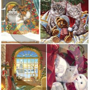 Karácsonyi sorozat: Karácsonyi cicák, Papír, Decoupage papír, Decoupage, szalvétatechnika, Decoupage minták, A 4-s méretű rizsnyomat, vékony 20 gr-s rizspapíron, découpage technikához. Az eredeti nyomatot vízj..., Meska