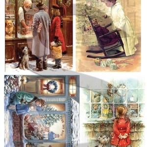 Karácsonyi sorozat: Karácsonyi játékbolt, Papír, Decoupage papír, Decoupage, szalvétatechnika, Decoupage minták, A 4-s méretű rizsnyomat, vékony 20 gr-s rizspapíron, découpage technikához. Az eredeti nyomatot vízj..., Meska
