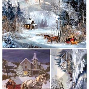 Karácsonyi sorozat: Karácsonyi lovasszán, Papír, Decoupage papír, Decoupage, szalvétatechnika, Decoupage minták, A 4-s méretű rizsnyomat, vékony 20 gr-s rizspapíron, découpage technikához. Az eredeti nyomatot vízj..., Meska