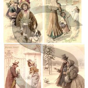 Karácsonyi sorozat: Karácsonyi séta, Papír, Decoupage papír, Decoupage, szalvétatechnika, Decoupage minták, A 4-s méretű rizsnyomat, vékony 20 gr-s rizspapíron, découpage technikához. Az eredeti nyomatot vízj..., Meska