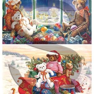 Karácsonyi sorozat: Karácsonyi mackók, Papír, Decoupage papír, Decoupage, szalvétatechnika, Decoupage minták, A 4-s méretű rizsnyomat, vékony 20 gr-s rizspapíron, découpage technikához. Az eredeti nyomatot vízj..., Meska