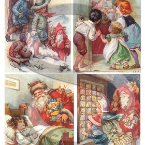 Karácsonyi sorozat: Érkezik a mikulás, Papír, Decoupage papír, Decoupage, szalvétatechnika, Decoupage minták, A 4-s méretű rizsnyomat, vékony 20 gr-s rizspapíron, découpage technikához. Az eredeti nyomatot vízj..., Meska