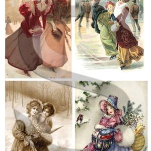 Karácsonyi sorozat: Téli romantika 2., Papír, Decoupage papír, Decoupage, szalvétatechnika, Decoupage minták, A 4-s méretű rizsnyomat, vékony 20 gr-s rizspapíron, découpage technikához. Az eredeti nyomatot vízj..., Meska