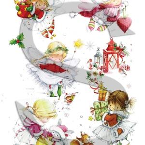 Karácsonyi sorozat: Karácsonyi tündérkék, Papír, Decoupage papír, Decoupage, szalvétatechnika, Decoupage minták, A 4-s méretű rizsnyomat, vékony 20 gr-s rizspapíron, découpage technikához. Az eredeti nyomatot vízj..., Meska