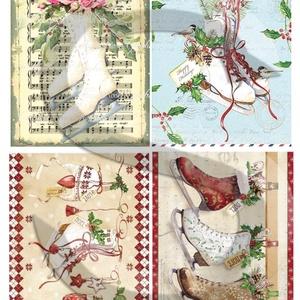 Karácsonyi sorozat: Karácsonyi korcsolyák, Papír, Decoupage papír, Decoupage, szalvétatechnika, Decoupage minták, A 4-s méretű rizsnyomat, vékony 20 gr-s rizspapíron, découpage technikához. Az eredeti nyomatot vízj..., Meska