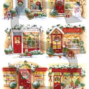 Karácsonyi sorozat: Karácsonyi boltocskák, Papír, Decoupage papír, Decoupage, szalvétatechnika, Decoupage minták, A 4-s méretű rizsnyomat, vékony 20 gr-s rizspapíron, découpage technikához. Az eredeti nyomatot víz..., Alkotók boltja
