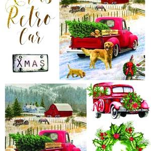 Karácsonyi sorozat: Karácsonyi piros autó, Papír, Decoupage papír, Decoupage, szalvétatechnika, Decoupage minták, A 4-s méretű rizsnyomat, vékony 20 gr-s rizspapíron, découpage technikához. Az eredeti nyomatot vízj..., Meska