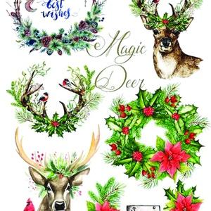 Karácsonyi sorozat: Karácsonyi akvarell, Papír, Decoupage papír, Decoupage, szalvétatechnika, Decoupage minták, A 4-s méretű rizsnyomat, vékony 20 gr-s rizspapíron, découpage technikához. Az eredeti nyomatot vízj..., Meska