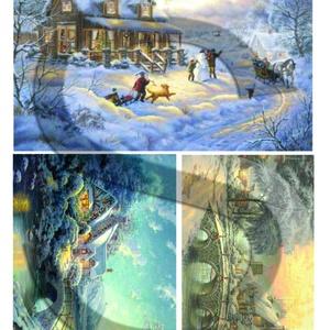 Karácsonyi sorozat: Csodás téli tájképek 1., Papír, Decoupage papír, Decoupage, szalvétatechnika, Decoupage minták, A 4-s méretű rizsnyomat, vékony 20 gr-s rizspapíron, découpage technikához. Az eredeti nyomatot vízj..., Meska