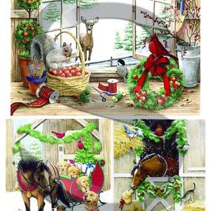 Karácsonyi sorozat : Karácsony állatokkal, Papír, Decoupage papír, Decoupage, szalvétatechnika, Decoupage minták, A 4-s méretű rizsnyomat, vékony 20 gr-s rizspapíron, découpage technikához. Az eredeti nyomatot vízj..., Meska
