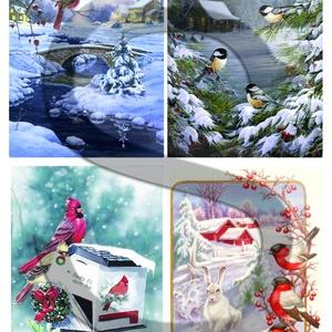 Karácsonyi sorozat : Téli tájkép állatokkal, Papír, Decoupage papír, Decoupage, szalvétatechnika, Decoupage minták, A 4-s méretű rizsnyomat, vékony 20 gr-s rizspapíron, découpage technikához. Az eredeti nyomatot víz..., Alkotók boltja