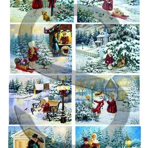 Karácsonyi sorozat: Piros ruhás kislány karácsonyi kalandjai 1., Papír, Decoupage papír, Decoupage, szalvétatechnika, Decoupage minták, A 4-s méretű rizsnyomat, vékony 20 gr-s rizspapíron, découpage technikához. Az eredeti nyomatot vízj..., Meska