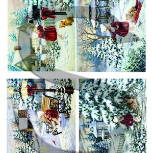 Karácsonyi sorozat: Piros ruhás kislány karácsonyi kalandjai 2., Papír, Decoupage papír, Decoupage, szalvétatechnika, Decoupage minták, A 4-s méretű rizsnyomat, vékony 20 gr-s rizspapíron, découpage technikához. Az eredeti nyomatot vízj..., Meska