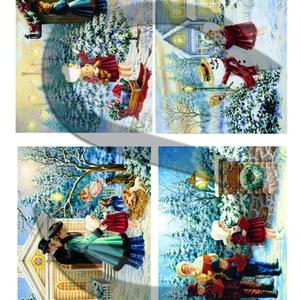 Karácsonyi sorozat: Piros ruhás kislány karácsonyi kalandjai 3., Papír, Decoupage papír, Decoupage, szalvétatechnika, Decoupage minták, A 4-s méretű rizsnyomat, vékony 20 gr-s rizspapíron, découpage technikához. Az eredeti nyomatot vízj..., Meska