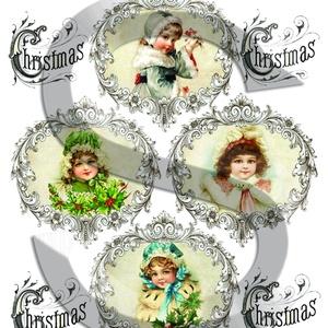 Karácsonyi sorozat: Karácsonyi kislányok keretben, Papír, Decoupage papír, Decoupage, szalvétatechnika, Decoupage minták, A 4-s méretű rizsnyomat, vékony 20 gr-s rizspapíron, découpage technikához. Az eredeti nyomatot vízj..., Meska