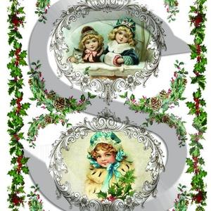 Karácsonyi sorozat: Karácsonyi kislányok keretben 2., Papír, Decoupage papír, Decoupage, szalvétatechnika, Decoupage minták, A 4-s méretű rizsnyomat, vékony 20 gr-s rizspapíron, découpage technikához. Az eredeti nyomatot vízj..., Meska