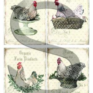 Vintage sorozat: Csirkefarm 2., Papír, Decoupage papír, Decoupage, szalvétatechnika, Decoupage minták, A 4-s méretű rizsnyomat, vékony 20 gr-s rizspapíron, découpage technikához. Az eredeti nyomatot vízj..., Meska