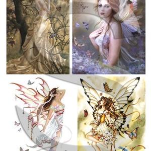 Fantasy sorozat : Pillangók és tündérek, Papír, Decoupage papír, Decoupage, szalvétatechnika, Decoupage minták, A 4-s méretű rizsnyomat, vékony 20 gr-s rizspapíron, découpage technikához. Az eredeti nyomatot vízj..., Meska