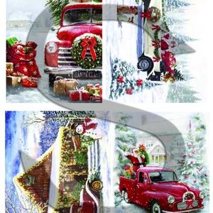 Karácsonyi sorozat: Karácsonyi autók, Papír, Decoupage papír, Decoupage, szalvétatechnika, Decoupage minták, A 4-s méretű rizsnyomat, vékony 20 gr-s rizspapíron, découpage technikához. Az eredeti nyomatot víz..., Alkotók boltja