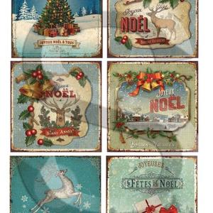 Karácsonyi sorozat: Karácsonyi rusztikus táblaképek, Papír, Decoupage papír, Decoupage, szalvétatechnika, Decoupage minták, A 4-s méretű rizsnyomat, vékony 20 gr-s rizspapíron, découpage technikához. Az eredeti nyomatot víz..., Alkotók boltja