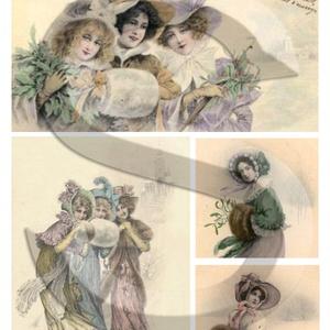 Karácsonyi sorozat: Viktoriánus kisasszonyok 1., Papír, Decoupage papír, Decoupage, szalvétatechnika, Decoupage minták, A 4-s méretű rizsnyomat, vékony 20 gr-s rizspapíron, découpage technikához. Az eredeti nyomatot vízj..., Meska