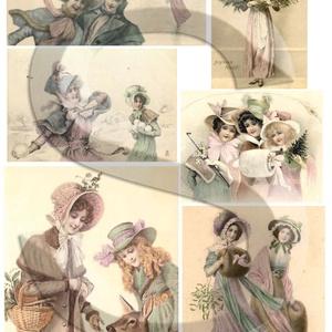 Karácsonyi sorozat: Viktoriánus kisasszonyok 2., Papír, Decoupage papír, Decoupage, szalvétatechnika, Decoupage minták, A 4-s méretű rizsnyomat, vékony 20 gr-s rizspapíron, découpage technikához. Az eredeti nyomatot vízj..., Meska