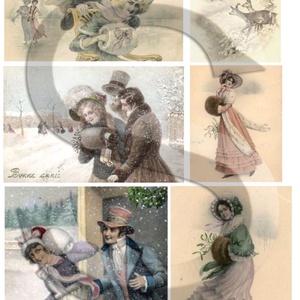 Karácsonyi sorozat: Viktoriánus kisasszonyok 3., Papír, Decoupage papír, Decoupage, szalvétatechnika, Decoupage minták, A 4-s méretű rizsnyomat, vékony 20 gr-s rizspapíron, découpage technikához. Az eredeti nyomatot vízj..., Meska