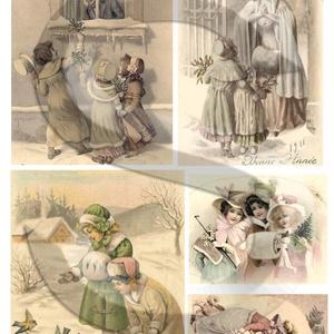 Karácsonyi sorozat: Viktoriánus gyerekek, Papír, Decoupage papír, Decoupage, szalvétatechnika, Decoupage minták, A 4-s méretű rizsnyomat, vékony 20 gr-s rizspapíron, découpage technikához. Az eredeti nyomatot vízj..., Meska