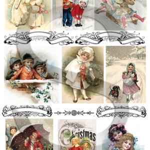 Karácsonyi sorozat: Karácsonyi gömbök 4., Papír, Decoupage papír, Decoupage, szalvétatechnika, Decoupage minták, A 4-s méretű rizsnyomat, vékony 20 gr-s rizspapíron, découpage technikához. Az eredeti nyomatot vízj..., Meska