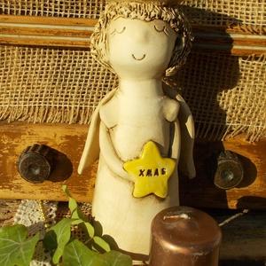 Vintage Angyalka , Otthon & Lakás, Dekoráció, Gyertya & Gyertyatartó, Kerámia, Szobrászat, Fehérre égő agyagból ,korongozással készítettem ezt a szende Angyalkát,gyertyatartónak is használhat..., Meska