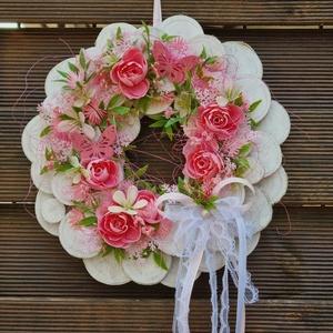 Ajtódísz, rózsaszín fehér színben - Meska.hu