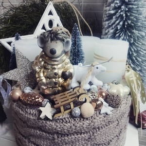 AdventiBox- Barna- arany, Otthon & lakás, Lakberendezés, Koszorú, Dekoráció, Ünnepi dekoráció, Karácsony, Karácsonyi dekoráció, Virágkötés, AdventiBox - Barna arany színekben.\n\nTemérdek kiegészítővel: termésekkel, valódi üveg kiegészítőkkel..., Meska