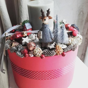 Adventi Box- Téli táj, Otthon & lakás, Lakberendezés, Koszorú, Dekoráció, Ünnepi dekoráció, Karácsony, Karácsonyi dekoráció, Virágkötés, Te is szereted az adventi boxokat? Nekünk is nagy kedvencünk ez a téli tájat idéző szarvasos darab.\n..., Meska