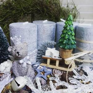 Adventi Box - Ezüst Mackós, Otthon & lakás, Dekoráció, Ünnepi dekoráció, Karácsony, Karácsonyi dekoráció, Lakberendezés, Koszorú, Virágkötés, Adventi Box, szürke színekben,  ezüst gyertyákkal, mackóval, termésekkel, fa-, illetve üveg kiegészí..., Meska