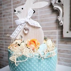 Húsvéti Nyuszi- Kerámiában, Otthon & Lakás, Dekoráció, Asztaldísz, Türkiz kerámiában épített húsvéti dekoráció., Meska