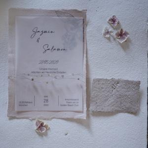 ásványokkal díszített, Esküvő, Meghívó & Kártya, Meghívó, Újrahasznosított alapanyagból készült termékek, Papírművészet, Esküvői meghívó, merített papíron nyomott mintával. Kérhető a képen látható pausz papírral és anélkü..., Meska
