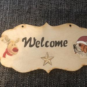 Ajtótábla, Dekoráció, Otthon & lakás, Festett tárgyak, Üdvözlő ajtótábla Welcome felirattal, rénszarvassal és beagle kutyussal., Meska