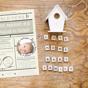 Születési adatok újságcikkben - Babaszoba falikép- Babaköszöntő, Gyerek & játék, Gyerekszoba, Baba falikép, Fotó, grafika, rajz, illusztráció, Papírművészet, Igazán különleges dísze lehet ez az antik újság címoldalra hasonlító kép a babaszobának.\nA cikkben m..., Meska
