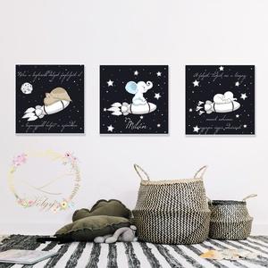 Repülés a csillagok között gyerekszobai dekoráció, Gyerek & játék, Gyerekszoba, Baba falikép, Fotó, grafika, rajz, illusztráció, 3 db 25cm*25cm-es prémium minőségű lapra nyomtatott cuki űrkalandorok fiúcskáknak.\nKét képen egy-egy..., Meska