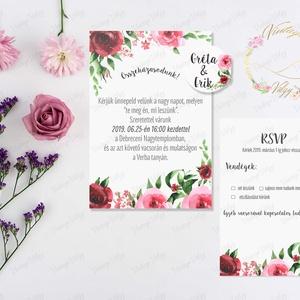 Rózsás meghívó szett, Esküvő, Meghívó, ültetőkártya, köszönőajándék, Fotó, grafika, rajz, illusztráció, Egyedi és kivételesen szép esküvői meghívó szett\n\nA SZETT TARTALMA:\n\n-  egy oldalas MEGHÍVÓ: 11*15 c..., Meska