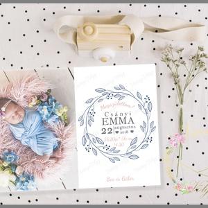 Megérkeztem! Lánykás baba születését bejelentő lap , Gyerek & játék, Baba-mama kellék, Fotó, grafika, rajz, illusztráció, Cuki képeslap formátumú kártya, amely tartalmazza  a baba első fotóját és születés paramétereit. Kiv..., Meska