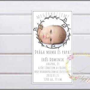 Megérkeztem! Fiús baba születését bejelentő lap , Gyerek & játék, Baba-mama kellék, Fotó, grafika, rajz, illusztráció, Cuki képeslap formátumú kártya, amely tartalmazza  a baba első fotóját és születés paramétereit. Kiv..., Meska