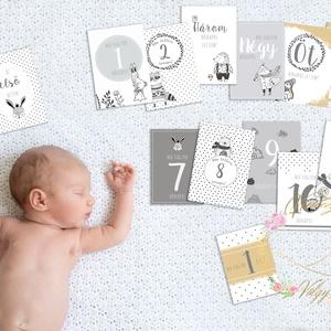 Fekete-fehér hónap kártyák A5 méretben!!! Fotó kártya, Gyerek & játék, Baba-mama kellék, Gyerekszoba, Fotó, grafika, rajz, illusztráció, A legjobb ajándék születendő Babáknak!\nEzekkel a babakártyákkal a Kicsi első éve örökké emlékezetes ..., Meska