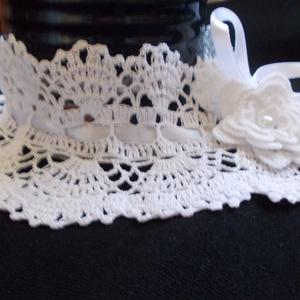 Fehér horgolt álló csipkegallér esküvőre,alkalomra., Válltakaró & Kendő, Kiegészítők, Esküvő, Horgolás, Nagy divatja van újra a horgolt csipkéknek, ezért csináltam egyedi tervezés alapján ezt a gallért.El..., Meska