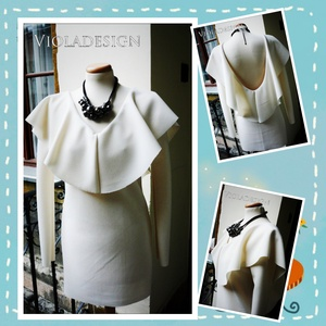 Orchidea - egészruha, Ruha, Női ruha, Ruha & Divat, Varrás, Tört fehér dzsörzé anyagból készült alkalmi ruha. Vízesés szerű nyak,-hát gallérjával, hátul mélyen ..., Meska