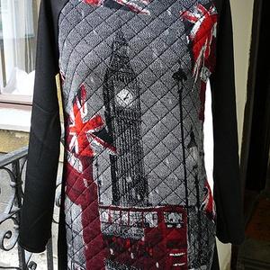 Life in London - női felső, Ruha & Divat, Pulóver & Kardigán, Női ruha, London mintás steppelt pamut anyagból készült egyedi pulóver. Raglán ujjú, háta és ujja fekete szöve..., Meska
